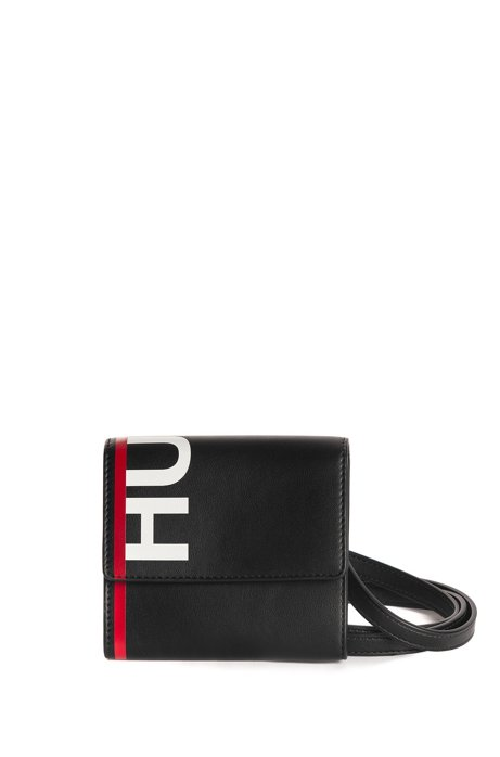 Logo wallet in faux leather with detachable strap, Black