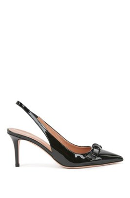 Slingback pumps in patent Italian leather with bow detail, Black