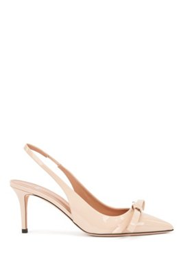 Slingback pumps in patent Italian leather with bow detail, Light Beige