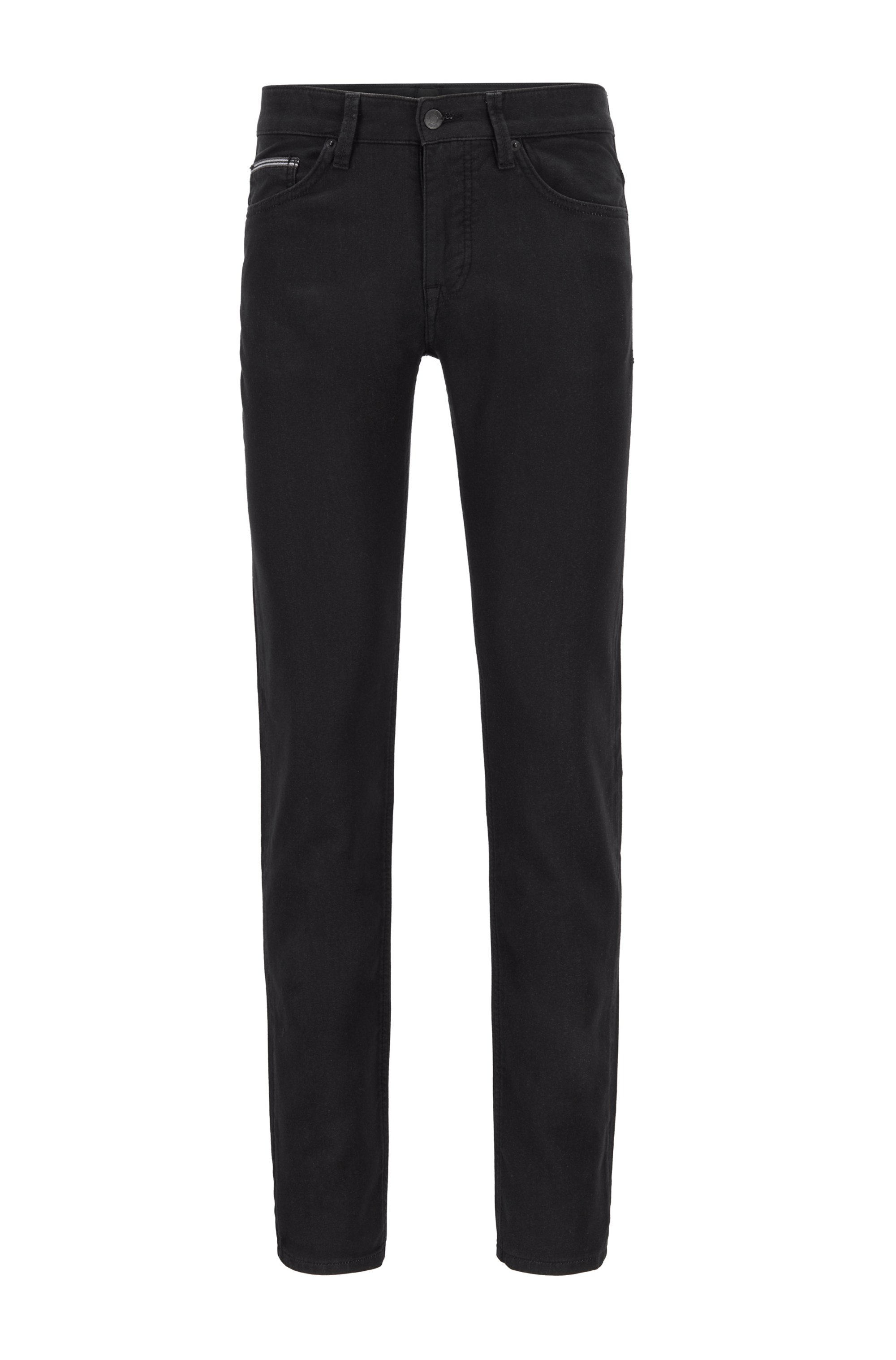 Slim-fit jeans in French-terry denim with stretch, Black