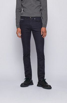 Slim-fit jeans in French-terry denim with stretch, Dark Blue