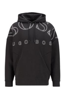 Sweat à capuche interlock avec imprimé logo incurvé, Noir