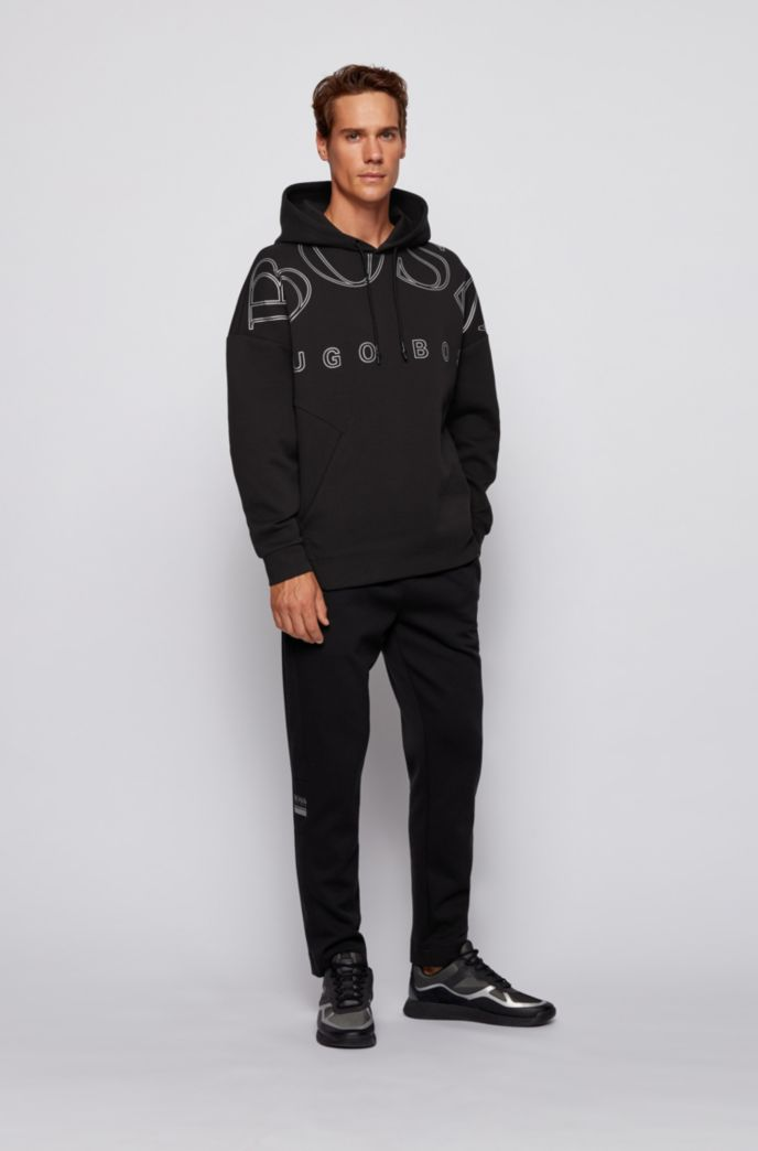 Kapuzen-Sweatshirt aus Interlock-Gewebe mit geschwungenem Logo-Print