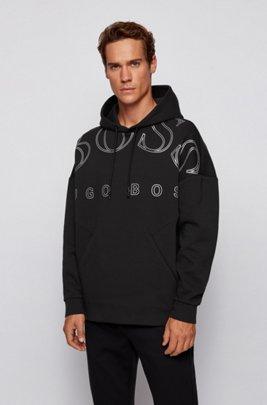 Kapuzen-Sweatshirt aus Interlock-Gewebe mit geschwungenem Logo-Print, Schwarz