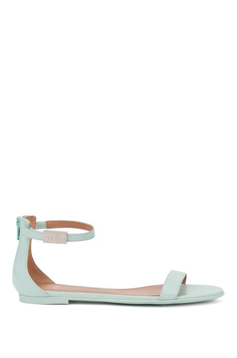 Italian-made sandals in calf leather with ankle strap, Turquoise