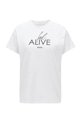 Top van katoenen jersey met nieuwe sloganprint, Wit
