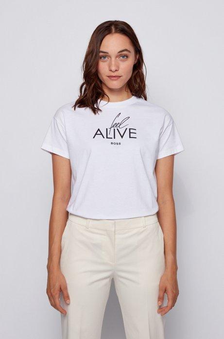 Top aus Baumwoll-Jersey mit Slogan der Kollektion, Weiß