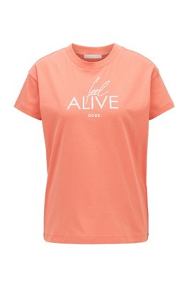 Cotton-jersey top with collection-themed slogan print, light pink
