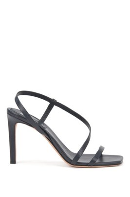 High-heeled sandals in nappa leather with asymmetric strap, ダークブルー