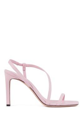 Sandales en cuir nappa à talons hauts et bride asymétrique, Rose clair