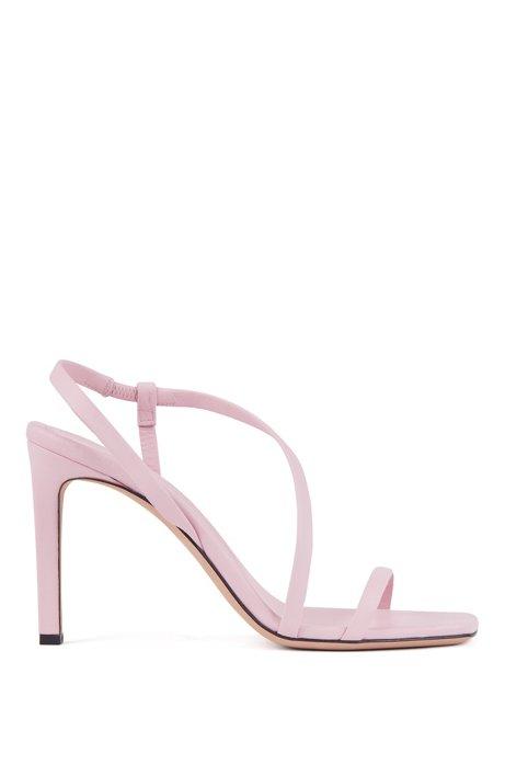 Sandali in nappa con tacco alto e cinturino asimmetrico, Rosa chiaro