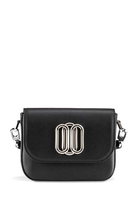 Mini crossbody bag in leather with signature hardware, Black