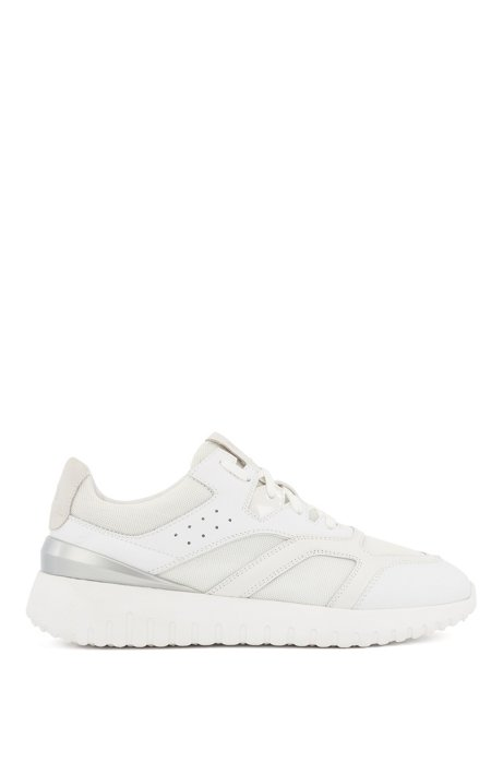 Lace-up trainers with mixed-material uppers, White