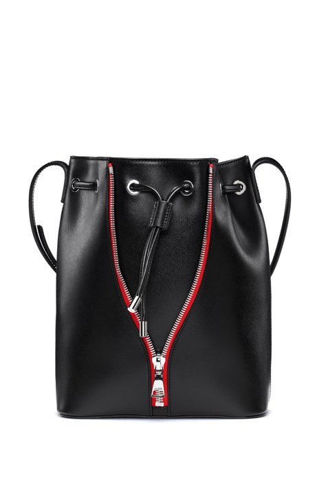 Smooth-leather bucket bag with contrast zip detail, Black