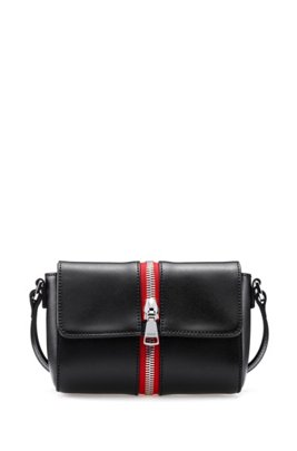 Crossbody bag in smooth leather with contrast zip detail, Black