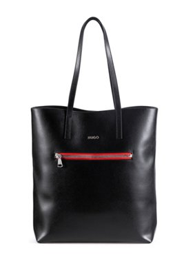 Tote bag in semi-lustrous leather with contrast zip, Black