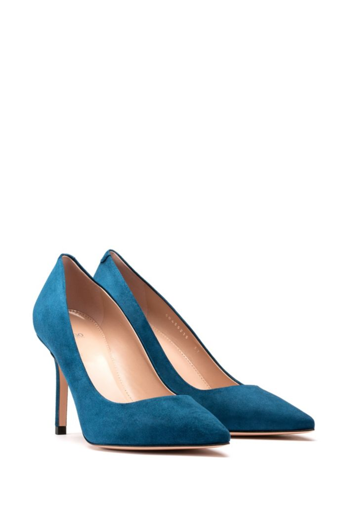 High-heeled pumps in Italian suede with pointed toe