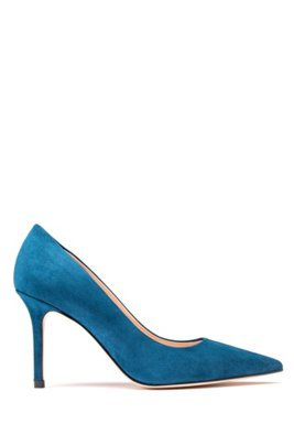 High-heeled pumps in Italian suede with pointed toe, Dark Blue