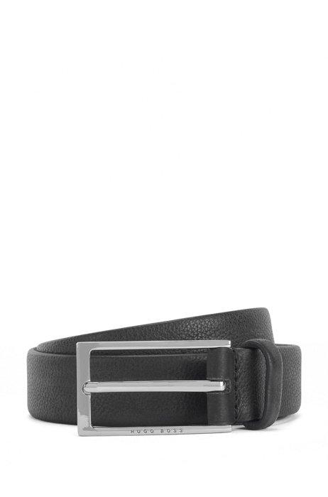 Business belt in grained Italian leather, Black