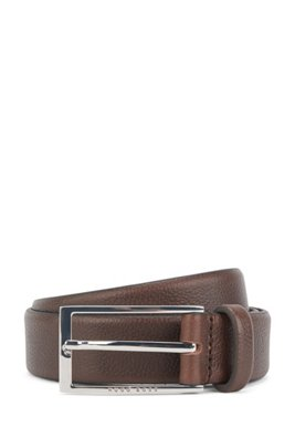 Business belt in grained Italian leather, Dark Brown