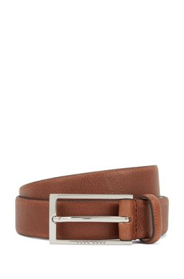 Business belt in grained Italian leather, Brown
