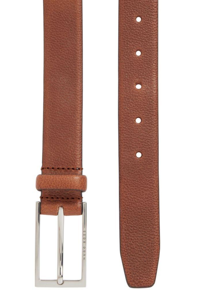 Business belt in grained Italian leather