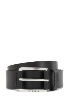 Cintura in pelle italiana con rifiniture con stampa del monogramma, Nero