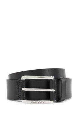 Italian-leather belt with monogram-print trim, Black