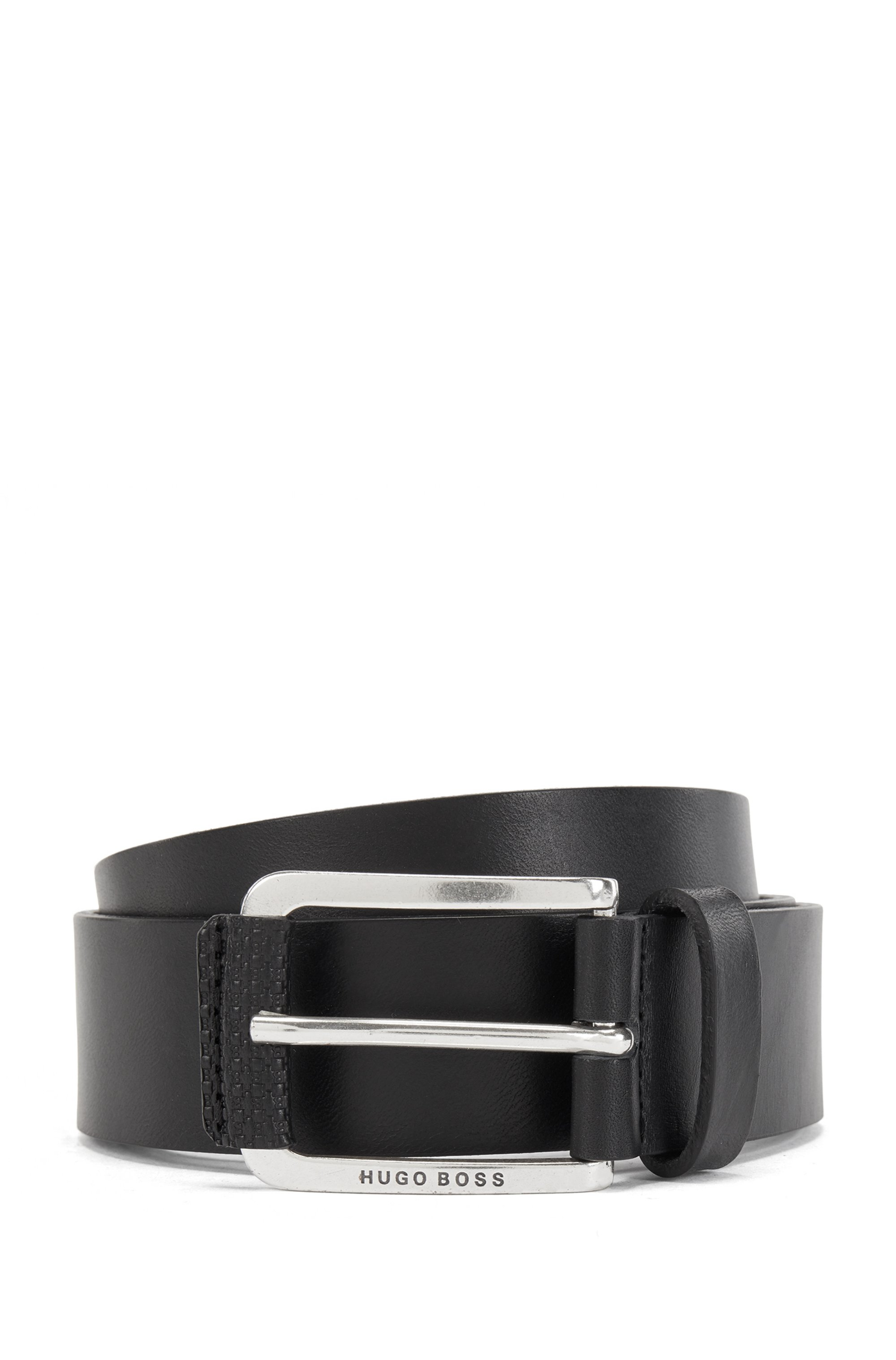 Italian-leather belt with monogram-print trim, Black