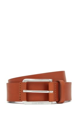 Italian-leather belt with monogram-print trim, Brown