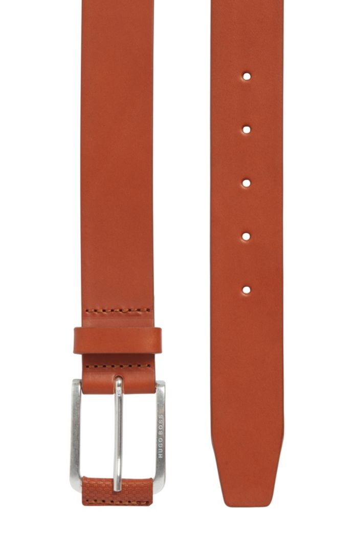 Italian-leather belt with monogram-print trim