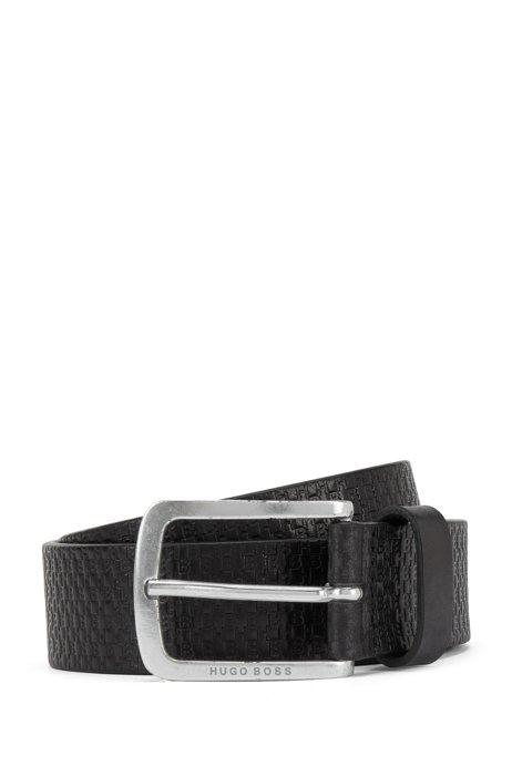 Italian-leather belt with embossed monograms, Black