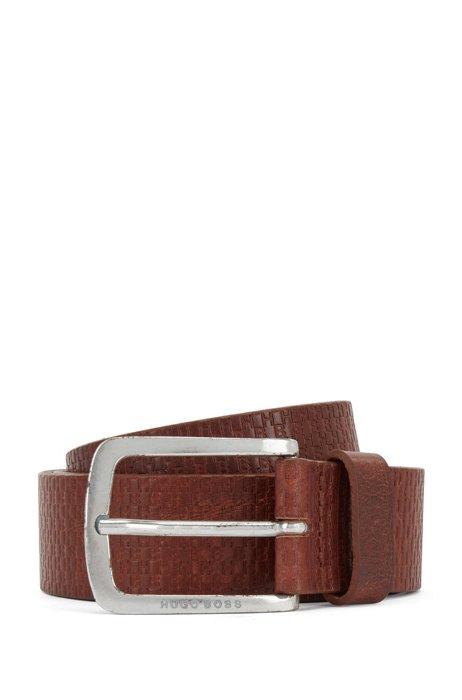 Gürtel aus italienischem Leder mit Monogramm-Prägung, Braun