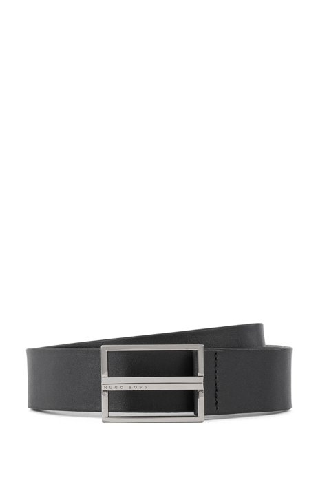 Leather belt with triangular hardware in polished silver, Black