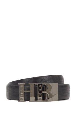 Wendegürtel aus Leder mit Monogramm-Schließe, Schwarz