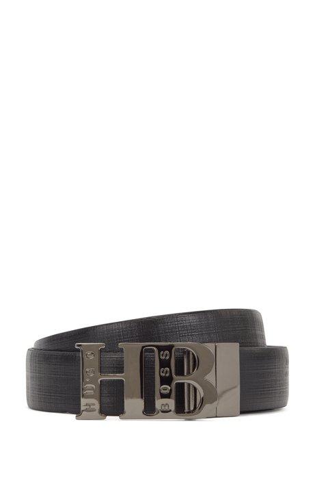 Reversible leather belt with monogram buckle, Black