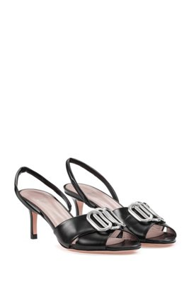 Italian-leather sandals with hardware detail, Black