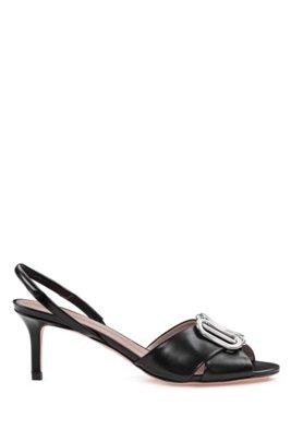 Sandales en cuir italien avec garniture en métal, Noir
