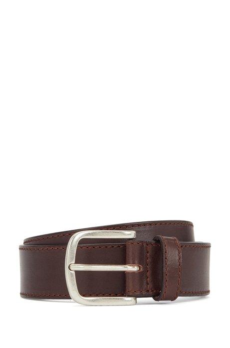 Cintura in pelle italiana conciata al vegetale con fibbia ad ardiglione, Marrone scuro