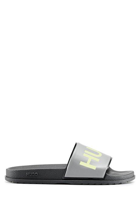 Slippers met logoprint en een gevormd voetbed, Zwart
