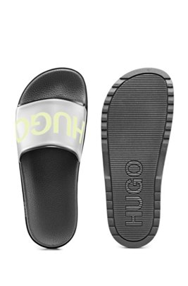 Logo-print slides with contoured footbed, Black
