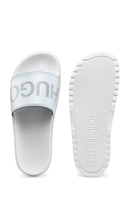 Logo-print slides with contoured footbed, White