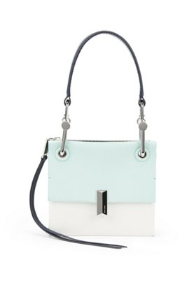 Italian-leather mini shoulder bag with signature hardware, Turquoise
