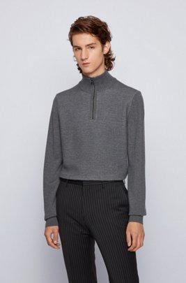 Pull en laine vierge et coton, avec encolure zippée, Gris