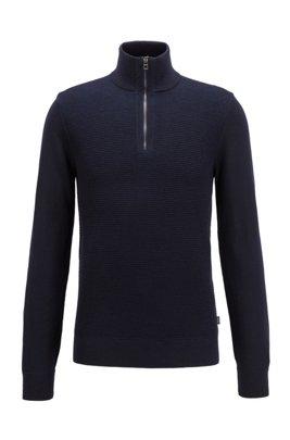 Pull en laine vierge et coton, avec encolure zippée, Bleu foncé