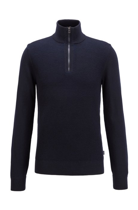 Zip-neck sweater in virgin wool and cotton, Dark Blue