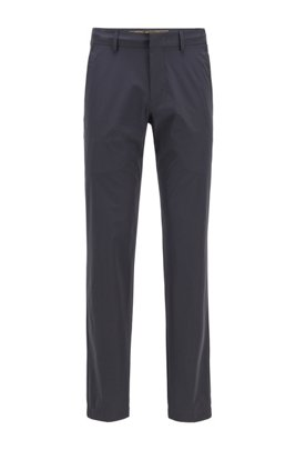 Slim-fit trousers in water-repellent stretch fabric, Dark Blue