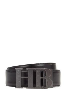 Cintura reversibile in pelle con fibbia a monogramma lavorata, Nero