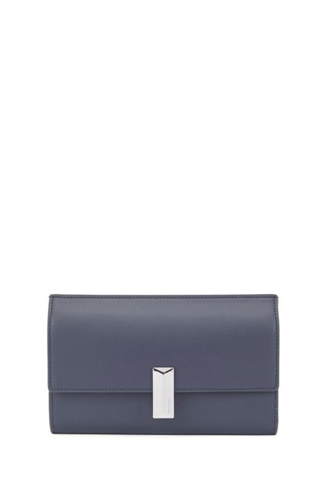 Mini bag in coated leather with multi-functional compartments, Dark Blue