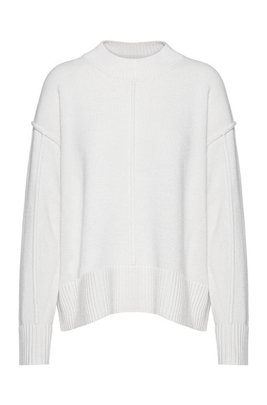 Oversized-fit sweater with seam details, White